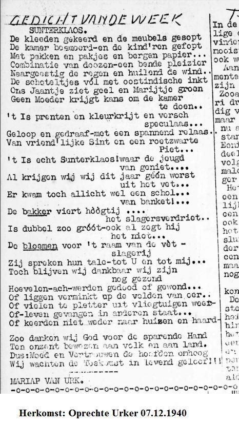 Sinterklaas gedicht uit de Oprechte Urker van 7 december 1940